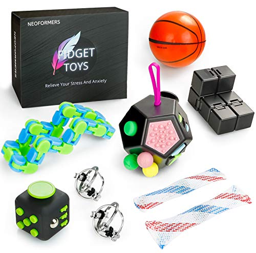 NEOFORMERS Sensory Fidget Toys Set for Kids and Adults, 9 Pcs Anti-Anxiety Stress Relief Fidget Bundle for Kids and Adults with Fidget Dodecagon,Squeeze Basketball,Flippy Chains, Infinity Cube & More