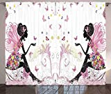 zpangg Cortinas para niñas Hada Niña con alas en un Vestido Floral Jardín de fantasía mágica Mariposas voladoras Sala de Estar Dormitorio Ventana Drap