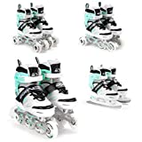 SportVida Inline Skates for Children, Adults' Inline Skates 4 in 1 Adjustable Ice Skates Triskates Size Adjustable ABEC7 Bearings Roller Skates White Turquoise EU 39-42 UK 5,5-8