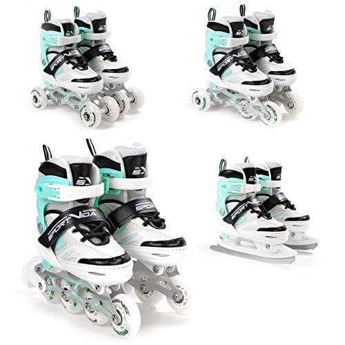 SportVida Inline Skates Kinder Erwachsene Inliner 4in1 | Verstellbare Schlittschuhe | Triskates ABEC7 Lager Rollschuhe Größenverstellbar (Weiß-Türkis, 31-34)