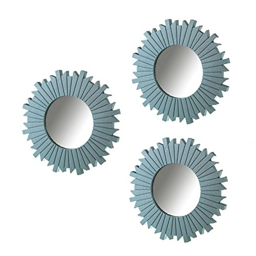 Dcasa - Set 3 espejo azul polipropileno 25 cm