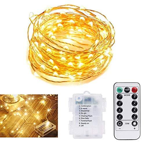 Vicloon 1Pcs LED Lichterkette Kupferdraht, 5M/50 LED, Wasserdicht Sternenlicht mit Fernbedienung,Outdoor-Starry-Schnur-Licht für Garten, Wohnungen, Tanzen, Weihnachtsfeier