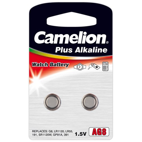 2 Stück Camelion AG8 LR55 LR1120 Knopfzelle 1,5V Batterie