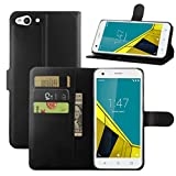HualuBro Funda Vodafone Smart Ultra 6, [Protección Todo Alrededor] Premium PU Cuero Leather Billetera Wallet Carcasa Case Flip Cover para Vodafone Smart Ultra 6 Smartphone (Negro)