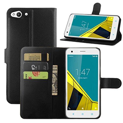 HualuBro Funda Vodafone Smart Ultra 6, [Protección Todo Alrededor] Premium PU Cuero Leather Billetera Wallet Carcasa Case Flip Cover para Vodafone Smart Ultra 6 Smartphone (Negro)