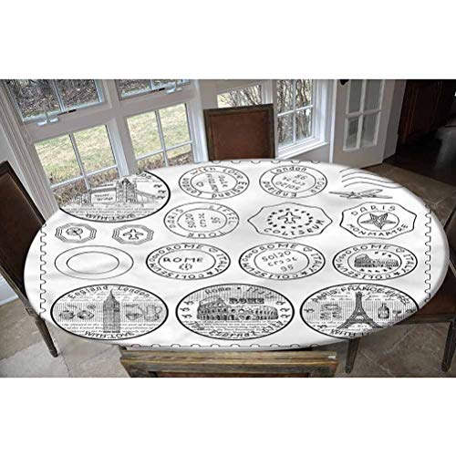 LCGGDB Travel Elastic Edged Polyester Fitted Tablecolth -Stamps Famous Landmarks- Oval/Olbong Fitted Table Cover - Fits Oval/Olbong Tables up to 48'x68',The Ultimate Protection for Your Table