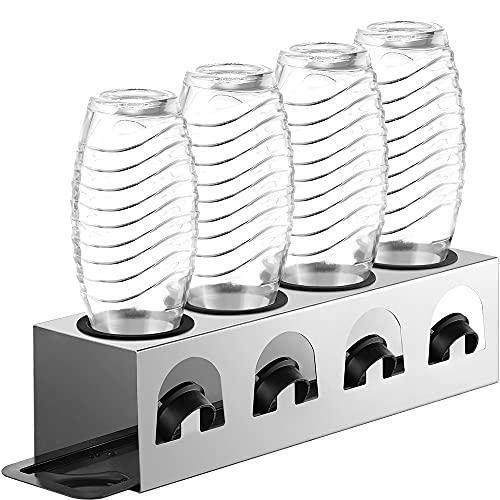 ecooe Abtropfständer mit Abtropfwanne und Kantenschutzringe Flaschenhalter für SodaStream Crystal Glaskaraffe Fuse PET-Flasche Abtropfhalter Edelstahl für 4 Flaschen und 4 Deckel Nicht für Duo