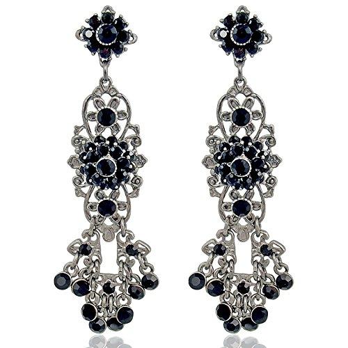 Chandelier Ohrringe mit Kristallen von Swarovski Silber Schwarz NOBEL SCHMUCK