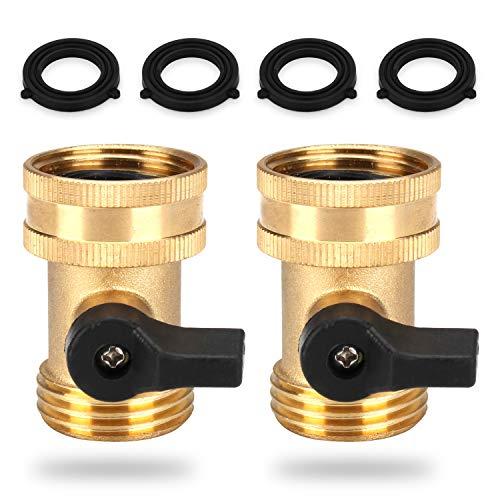 LERWAY Brass Garden Hose Splitter 2 Way Y Faucet Splitter, Water Shut Off Valves Quick Connect, Heavy Duty Garden 3/4