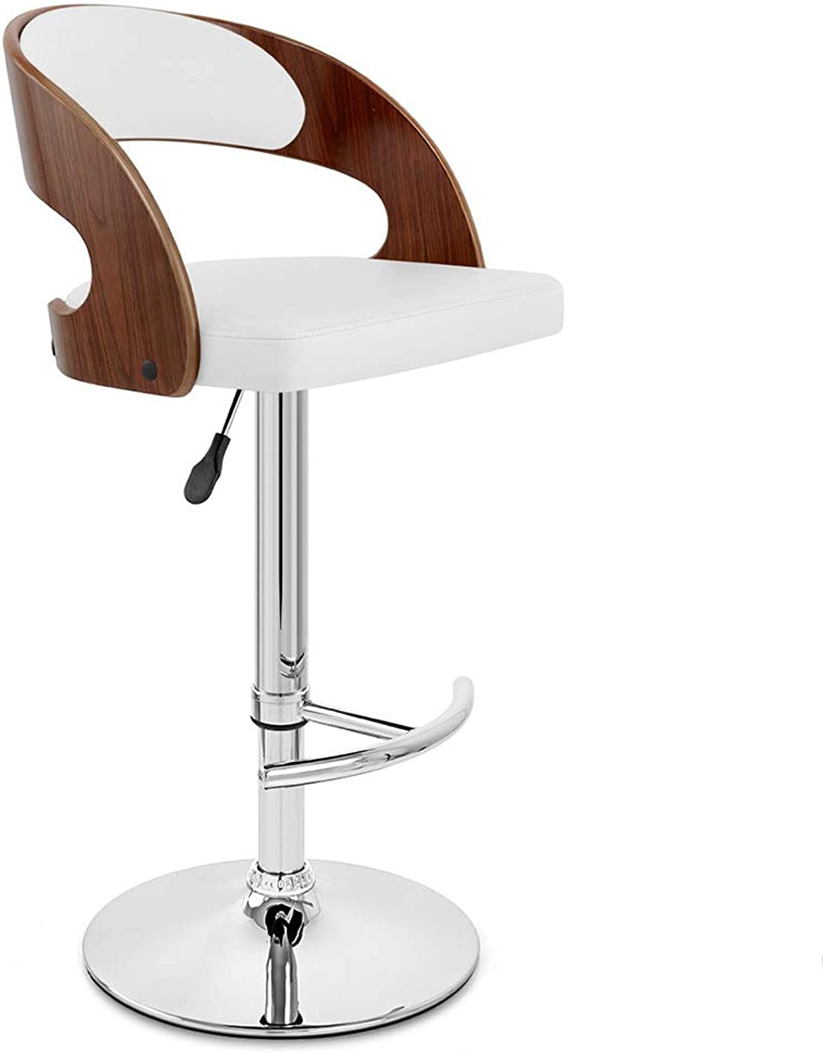 LIQICAI Bar Stool with Faux Leather Backs Seat Upholster Adjustable Height Swivel Stool Backrest Footrest Large Base, 4 colors Optional (color   White, Size   1 PCS)