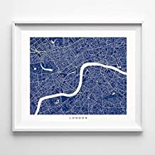London England Street Road Map Home Decor Poster Urban City Hometown Wall Art Print - 70 Color Options - Unframed