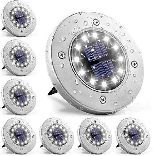 Luces solares para jardín, 12 luces LED en el suelo, luces solares para caminos al aire libre, lámpara de paisaje para césped, patio, piscina, patio, entrada (8 unidades)