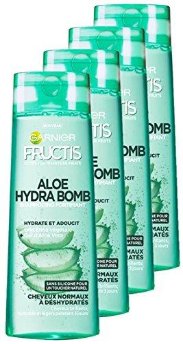 Garnier Fructis Champú Aloe Hydra Bomb para cabellos normales a deshidratados, 1 litro – Juego de 4