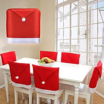 Christmas Chair Covers Set of 4 Christmas Decoration Santa Hat Chair Back Covers for Xmas Dinning Decoration Christmas Restaurant Holiday Festival Party Decor