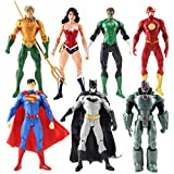 Modelo De Anime7Pcs / Lot Justice League Figuras De Acción Superman Batman Flash Aquaman Wonder Woma...