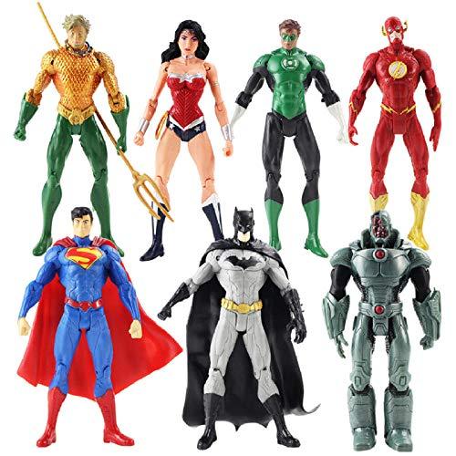 Modelo De Anime7Pcs / Lot Justice League Figuras De Acción Superman Batman Flash Aquaman Wonder Woman Cyborg Green Lantern Modelo Juguetes 18Cm