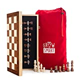 Smart Tactics 16' Folding Chess Set Made by FSC Certified Wood - Premium Edition with Chess Bag and Extra Chess Pieces