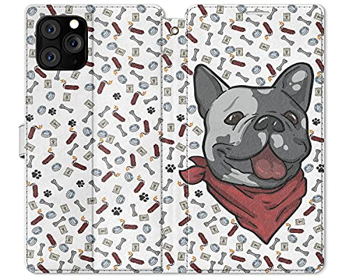 Cavka Wallet Case Replacement for Apple iPhone 12 Mini 11 Pro Max Xr Xs 10 X 8 Plus 7 6s SE Card Holder Paws Snap Pattern Magnetic Pet Flip PU Leather Cover Cute Animal Dog French Bulldog Folio