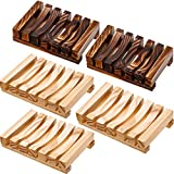 Bathroom Wooden Soap Case Holder Home Hand Craft Natural Wood Dish Holder for Soap Sponge Scrubber, 5 Pieces (Wooden and Charcoal)
