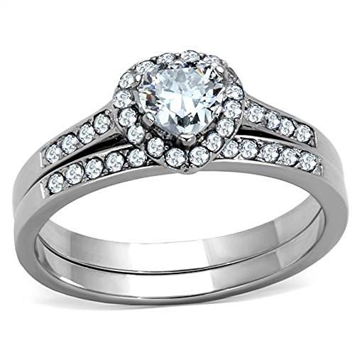 Doublebeez Jewelry Stainless Steel Clear Cubic Zirconia Halo Heart 2 Piece...