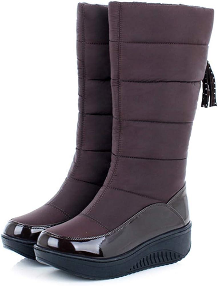 heelchic Women's Classic Water Proof Anti-Slip Down Snow Boots Ladies Warm Mid Calf Boots