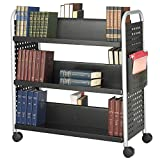 Double Sided 6-Shelf Book Cart Black Metal