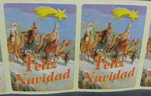 500 Etiquetas adhesivas FELIZ NAVIDAD, Reyes magos y estrella.