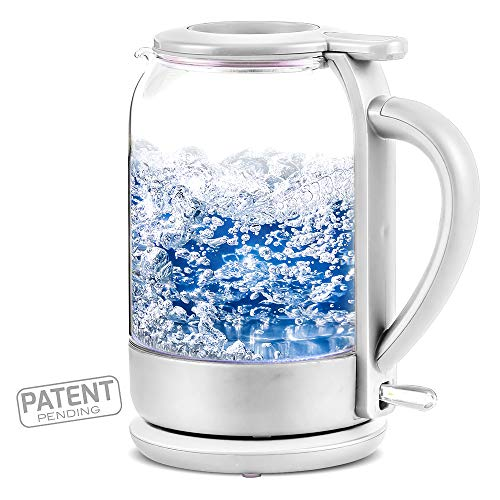 Ovente Electric Glass Hot Water Kettle 1.5 Liter with ProntoFill Technology The Easy Fill Solution, Heat-Tempered Borosilicate Glass, BPA-Free, 1500 Watts Fast Heating Element, White (KG516W)