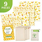 Geobless Beeswax Wraps and Reusable Produce Bags (8-Pc. Bundle) Eco-Friendly, Sustainable Food Storage | Reusable Food Wrap Plastic Free Zero Waste | Home, Refrigerator, Kitchen | Small, Medium, Large