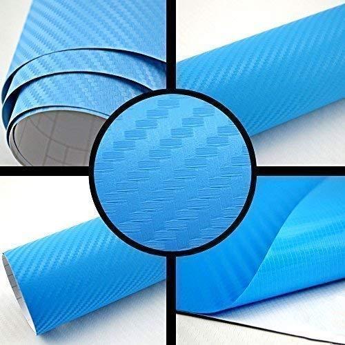 TipTopCarbon 8,55€/m² Autofolie 3D Carbon Hell Blau metallic 152cm breit BLASENFREI mit Luftkanäle 3D Flex Selbstklebende Folie Auto folierung