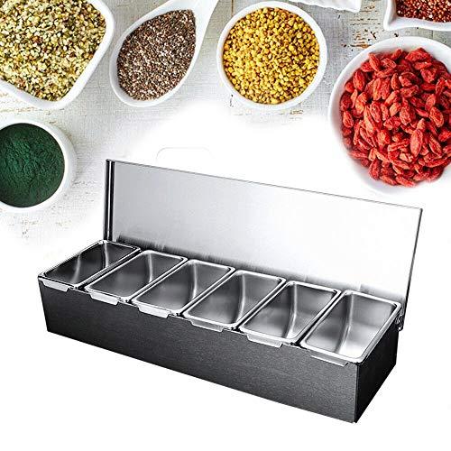 Zutatenbehälter Edelstahl 6 Einsätze Zutatenbox Gewürzboxen Gastronomie Mixen 45,5 * 15 * 9 cm