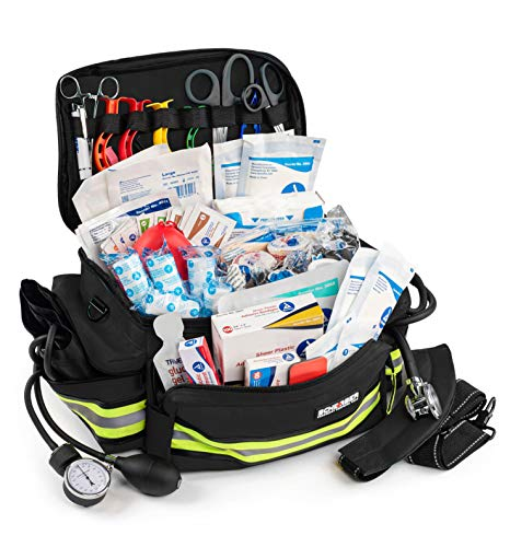 Scherber First Responder Bag | Fully-Stocked Professional Essentials EMT/EMS Trauma Kit | Reflective Bag w/8 Zippered Pockets & Compartments, Shoulder Strap & 200+ First Aid Supplies - Black