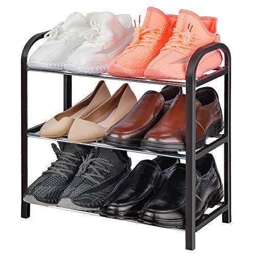 NiHome Zapatero organizador multiusos de 3 niveles de tamaño pequeño vertical para exhibición de calzado, compacto y resistente, marco de metal, ligero, 6 pares para armario,...