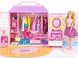 Kinderplay armario portable con muñeca incluida, ropa, complementos y accesorios de muñecas, regalo para niñas y niños 3-9 años, kp7617