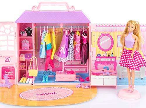 Kinderplay casetta per Bambole in Valigia, Guardaroba con Vestiti, Armadio della Bambole, KP7617