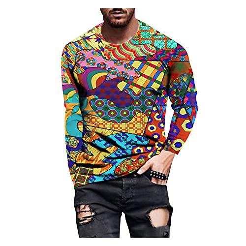 Xmiral T-Shirt Manica Lunga per Uomini T-Shirt Top Camicetta Uomo Autunno Slim Casual O Collo Stampato Manica Lunga (M,4multicolore)
