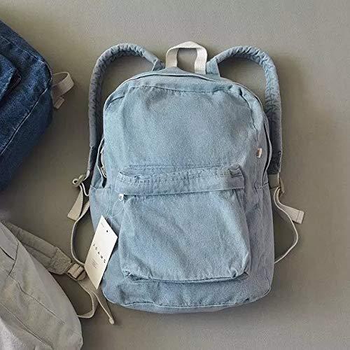 [nofitting] デニムリュック Denim Backpack バックパック カジュアル ユニセックス カップルバッグ アウトドア タウンリュック 大容量 通学 カレッジ風(41.5 X 31.5cm) (Blue)