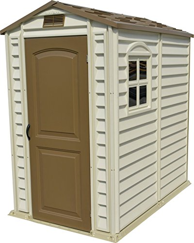 Duramax StorePro 4' x 6' Plastic Garden Shed with Plastic Floor & Fixed Window - Ivory & Brown - 15 Years Warranty
