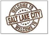 Imán para nevera con diseño de sello de la bienvenida a Salt Lake City