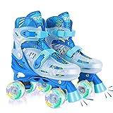 GVDV Patins à roulettes Réglable Enfant, Roller Skates pour Filles et Garçon, avec 8 Roues Lumineux LED, Rollers Quad Protection Complète pour Enfants Débutants