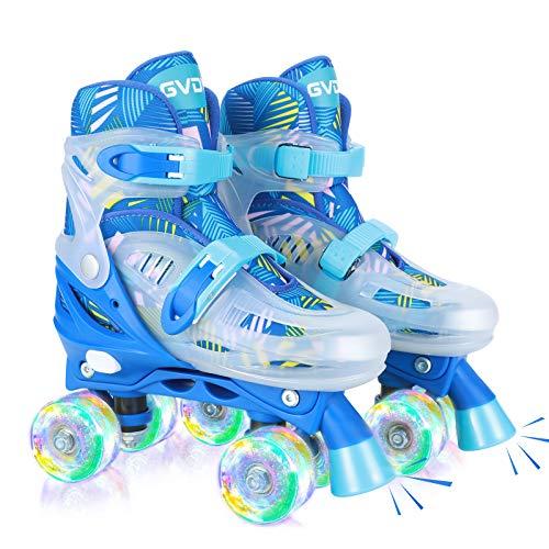 GVDV Rollschuhe Kinder Verstellbar - LED Roller Skates Beleuchtete für Jungen und Jugendliche, Quad Rollerskates Kompletter Schutz für Anfänger, Größe M Blau