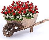 WDSZXH Carriola in Legno Tradizionale Elegante Piante da Giardino Piante Fiori Fiori all'aperto Ruota Barrow Burntwood Style 0694