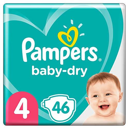 Pampers Baby-Dry Größe 4, 46 Windeln bis 12 Stunden Schutz 9 – 14 kg, 2 Stück