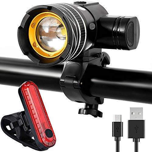 Fahrradbeleuchtung LED Set, Fahrradlicht USB,IPX5 wasserdichte Fahrradlampe Vorne und Rücklicht für Mountain- oder Rennrad-Nachtfahrten, Fahrradlampe mit Samsung 1500mAh Li-ion Akku