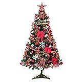 KAISIMYS Árbol de Navidad Artificial de PVC Premium Pino Deluxe Realista con Luces Árbol de Navidad preiluminado Fácil Montaje Almacenamiento Conveniente para decoración navideña-120cm Rojo