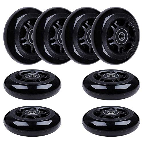 AOWISH 8-Pack 80mm Inline Skate Wheels 85A Inline Skates Replacement Wheel with Bearings ABEC-9 (Black Hub Black Wheel)