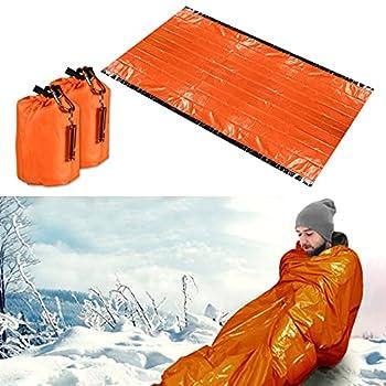 Couverture de Survie,Sac de Couchage de Survie, Couverture de Survie Reutilisable Sac, Sac de Camping d'urgence, avec Sifflet de Sauveteur, Utilisé pour la Randonnée et Le Camping?Orange?