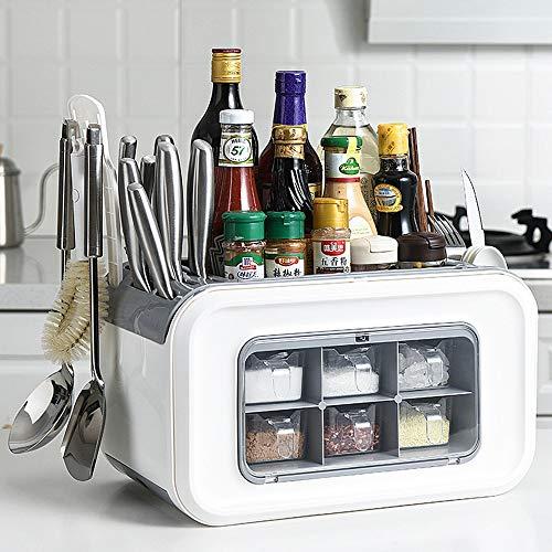 GRX-ZNLJT Kruidenrek, keuken/opbergdoos, multifunctionele verpakking, hoge capaciteit, milieuvriendelijke materialen, ideaal voor het bewaren van kruiden, huishoudelijke producten grijs