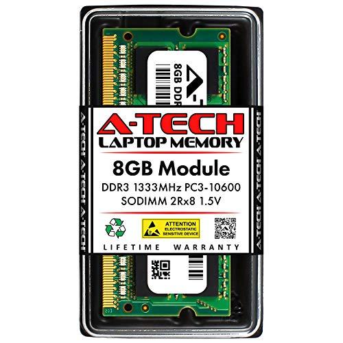 A-Tech 8GB DDR3 1333MHz SODIMM PC3-10600 2Rx8 Dual Rank 204-Pin CL9 1.5V Non-ECC Unbuffered Notebook Laptop RAM Memory Upgrade Module
