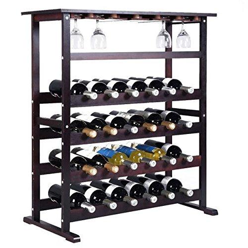 24 Bottle Wine Rack Storage Wood Holder Bottle Display Wooden Cabinet Shelf Home Kitchen Décor Bar Shelves w/ Glass Hanger Solid Liquor Stackable Tier Standing Organizer New